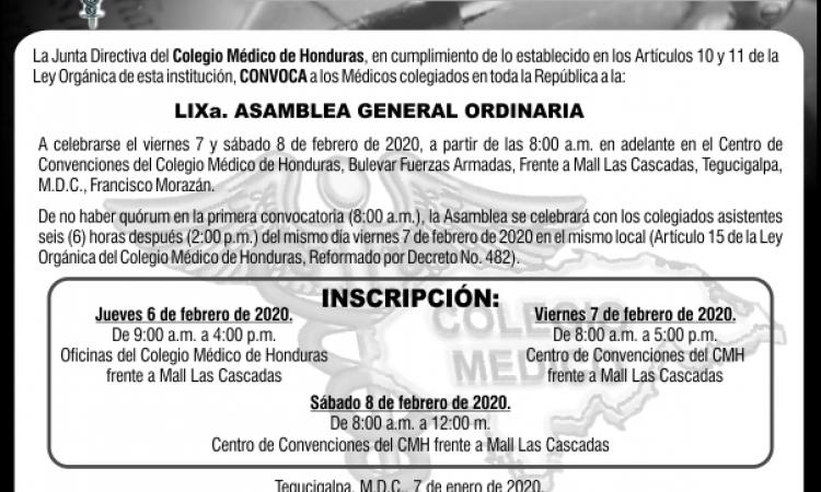 Convocatoria a LIXa. Asamblea General Ordinaria